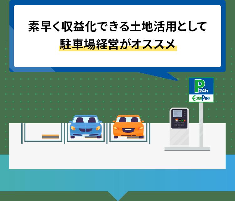 素早く収益化できる土地活用として駐車場経営がオススメ